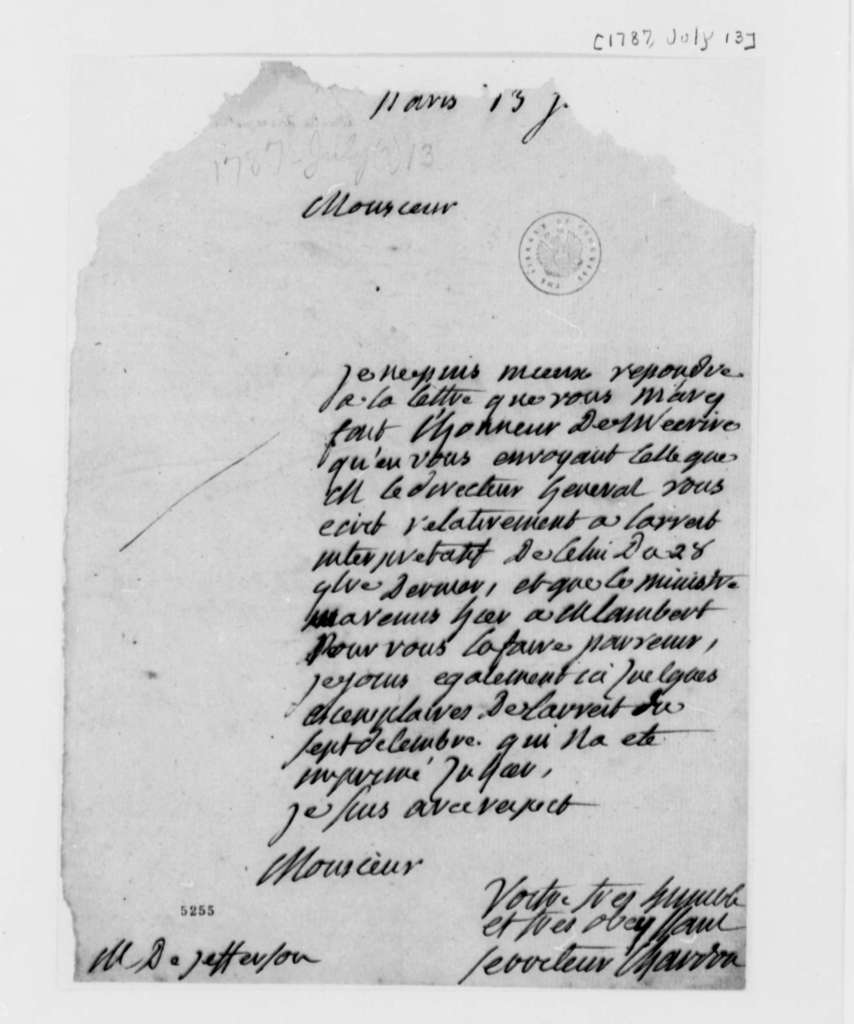 Chaudron to Thomas Jefferson, July 13, 1787, in French