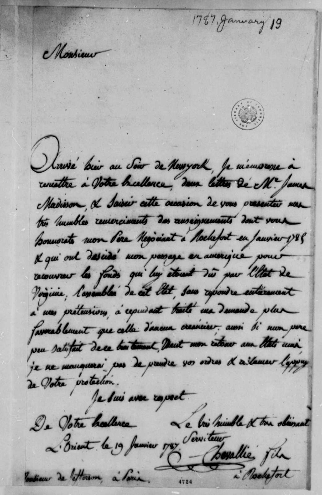 Chevallie Sons to Thomas Jefferson, January 19, 1787, in French