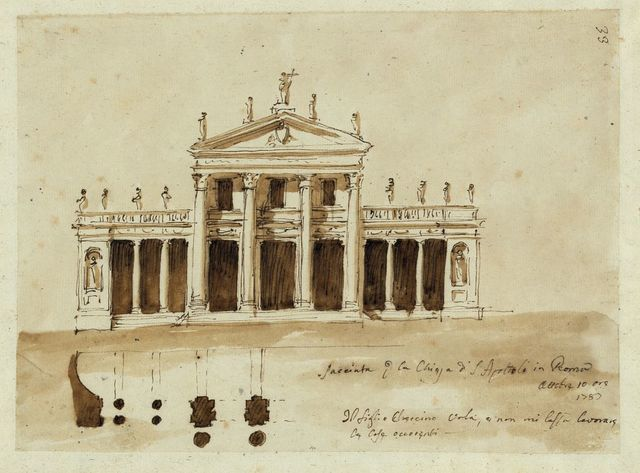 [Church of the Holy Apostles, Rome. Elevation and plan]