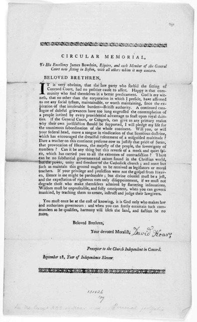 Circular memorial, To His Excellency James Bowdoin, Esquire, and each member of the General court now sitting in Boston, with all others whom it may concern. Beloved brethren ... [Concord, Mass., 1787].
