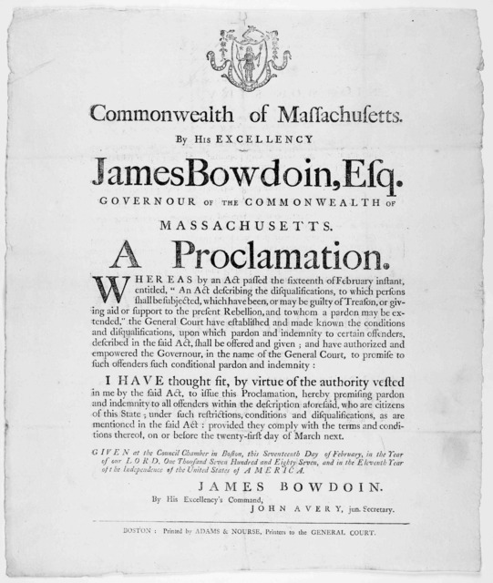 """Commonwealth of Massachusetts. By His Excellency, James Bowdoin, Esq. Governour of the commonwealth of Massachusetts. A proclamation Whereas by an act passed the sixteenth of February instant, entitled, """"An act describing the disqualification .."""