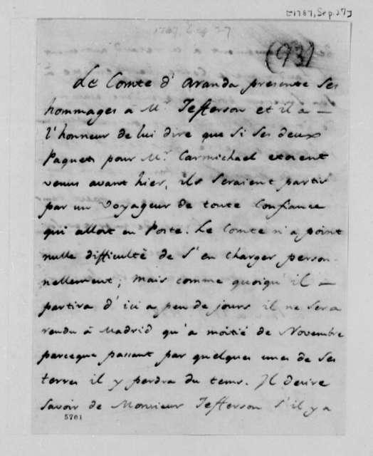 Conde d'Aranda to Thomas Jefferson, September 27, 1787