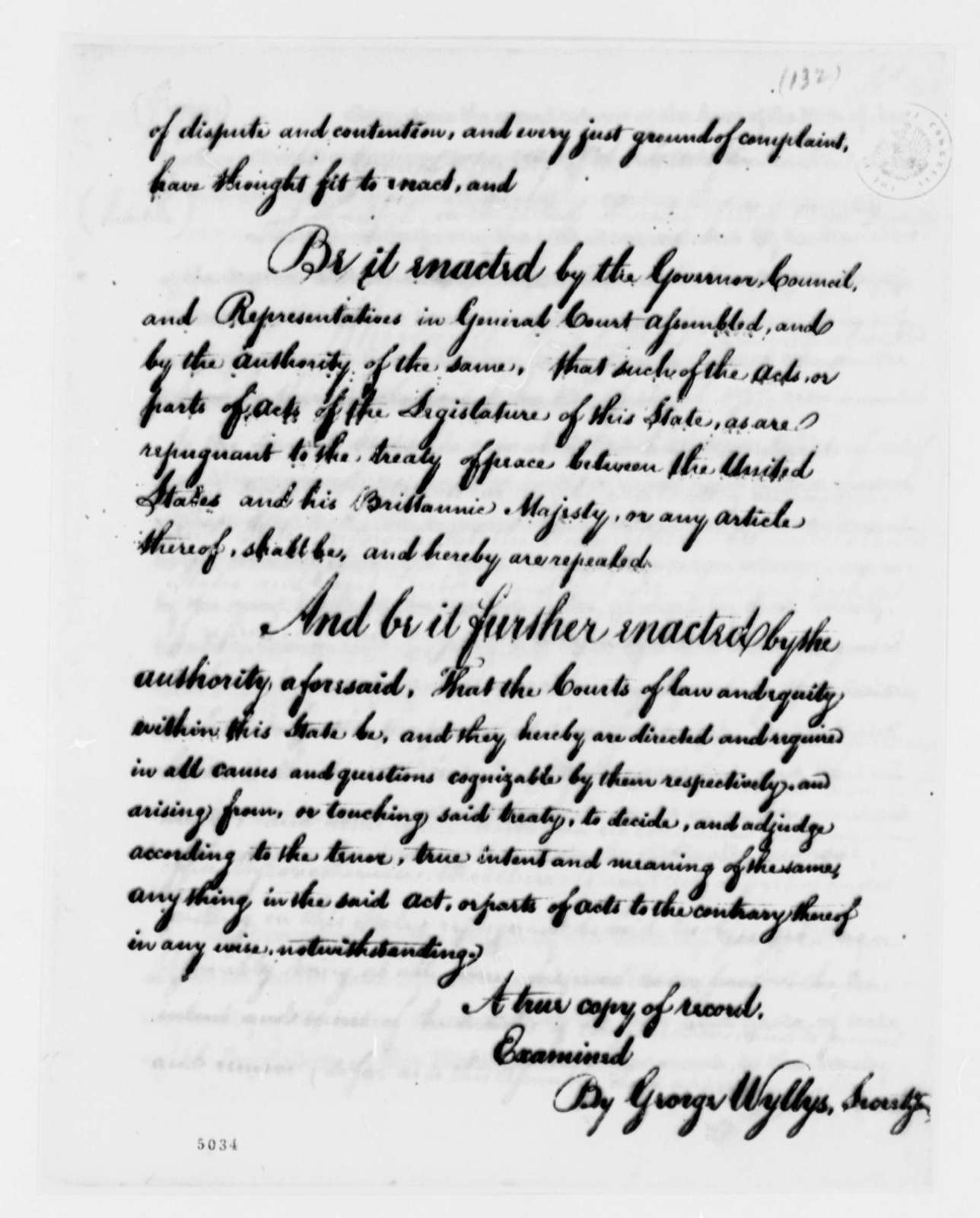 Connecticut General Assembly, May 9, 1787, Act