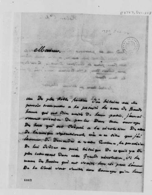 Count de la Platiere to Thomas Jefferson, December 22, 1787, in French