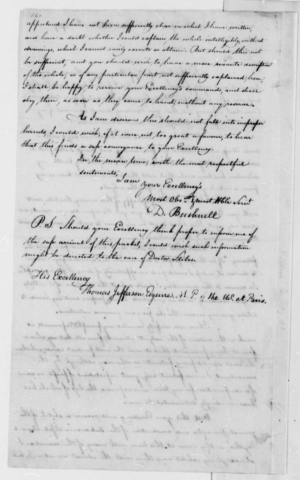 David Bushnell to Thomas Jefferson, October 1787
