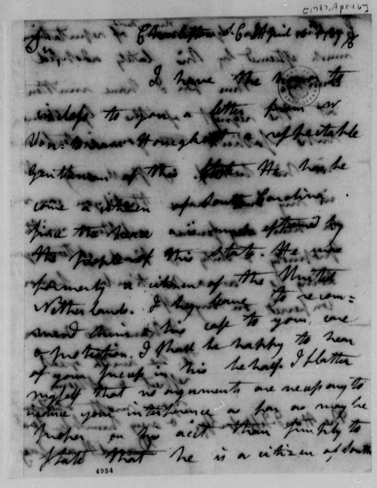David Ramsay to Thomas Jefferson, April 16, 1787, Letter of Recommendation for A. E. van Braam Houckgeeste