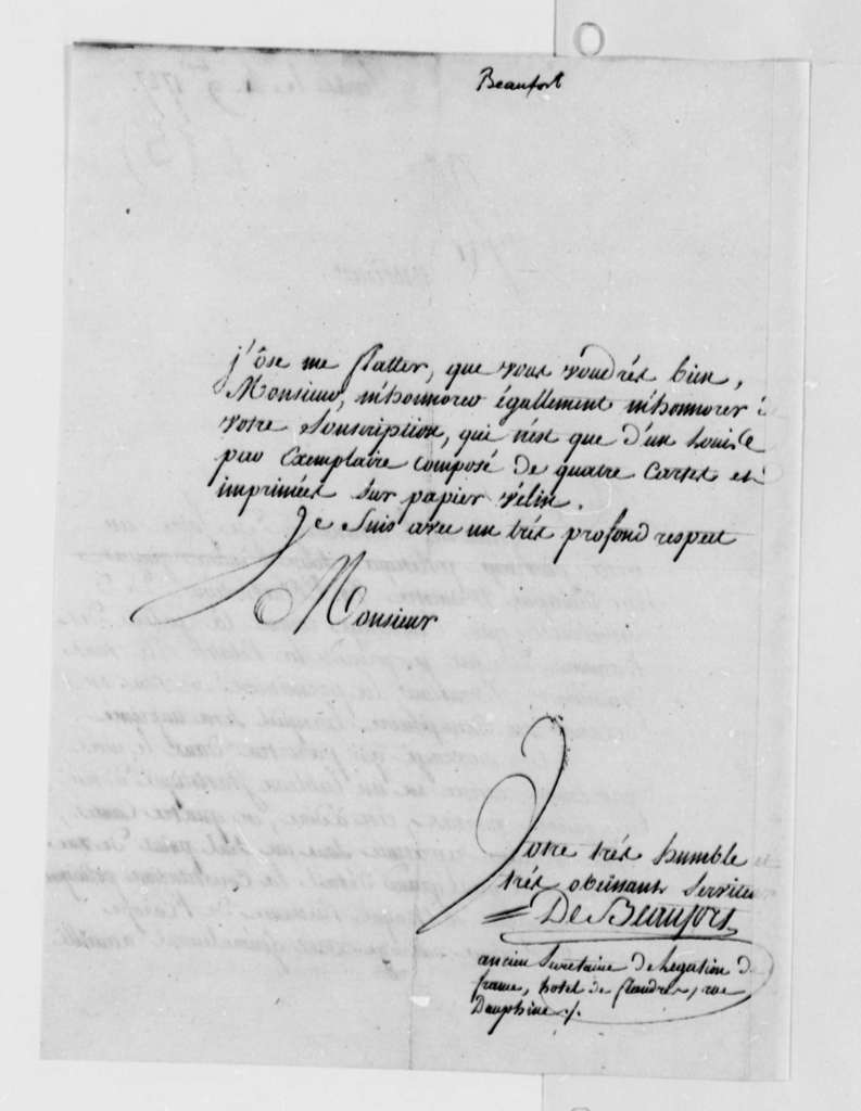 de Beaufort to Thomas Jefferson, November 4, 1787, in French