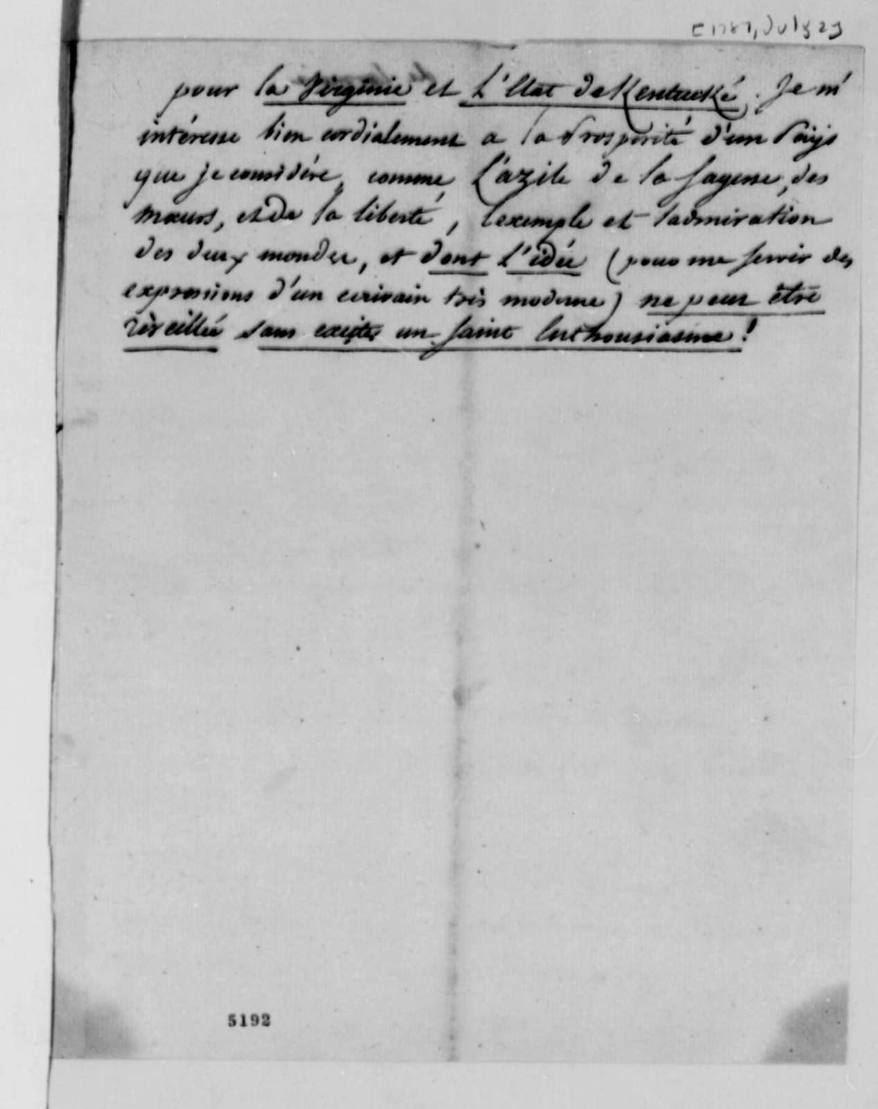 de Lormerie to Thomas Jefferson, July 2, 1787, in French