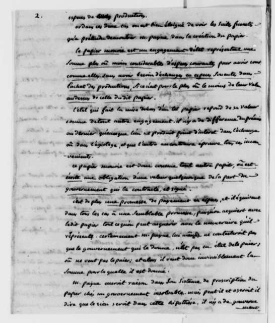 Degaseq to Thomas Jefferson, February 5, 1787, with Extract on Paper Money; in French