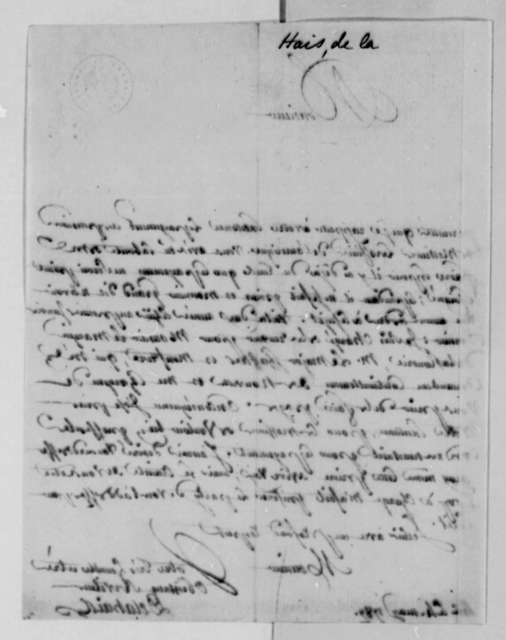 Delahais to Thomas Jefferson, May 4, 1787, in French