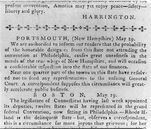 [Detail of a page from the Pennsylvania Journal, May 30, 1787]