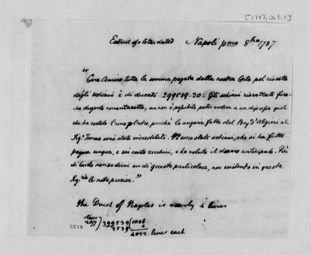Dey of Algiers, October 1, 1787, American Captives; Extract in Italian