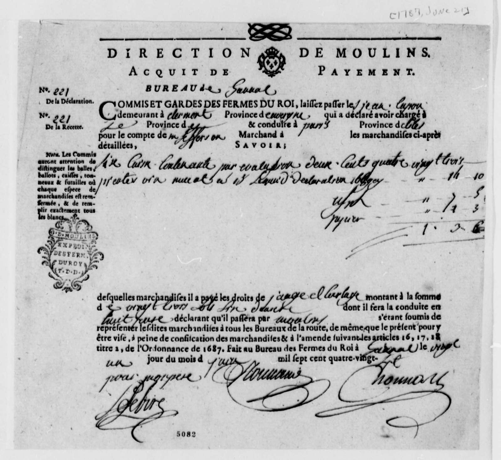 Direction de Moulins, June 21, 1787, Receipt for French Wine Taxes