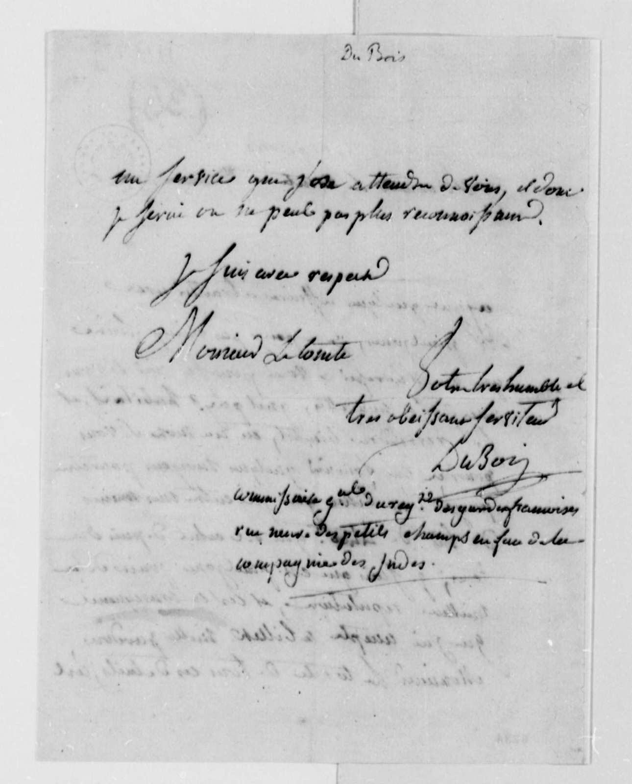 Du Bois to Thomas Jefferson, December 4, 1787, Money Owed by John Paul Jones; in French