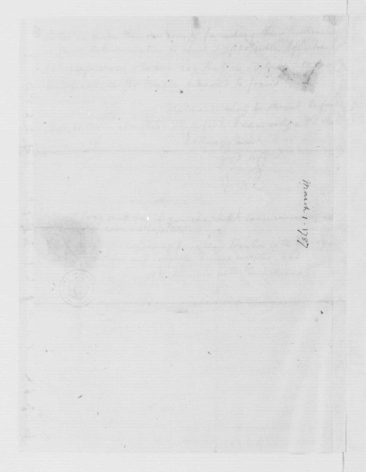 Edmund Randolph to James Madison, March 1, 1787.