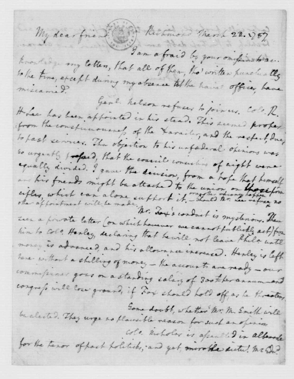 Edmund Randolph to James Madison, March 22, 1787.