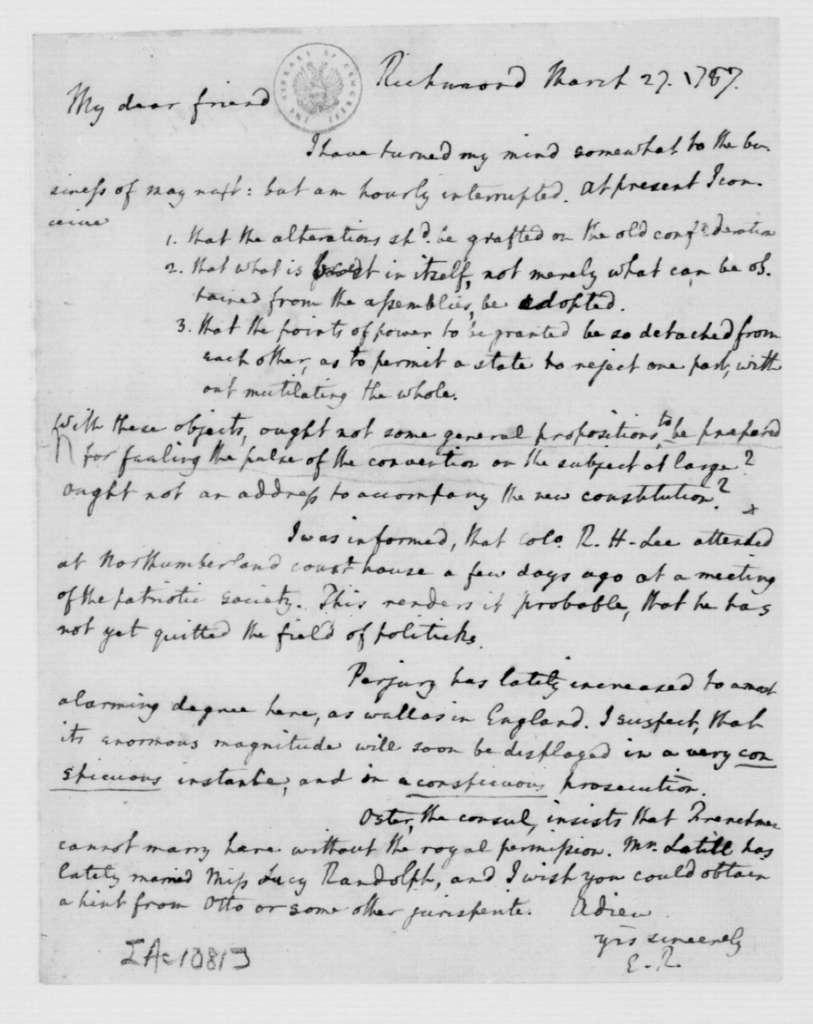 Edmund Randolph to James Madison, March 27, 1787.