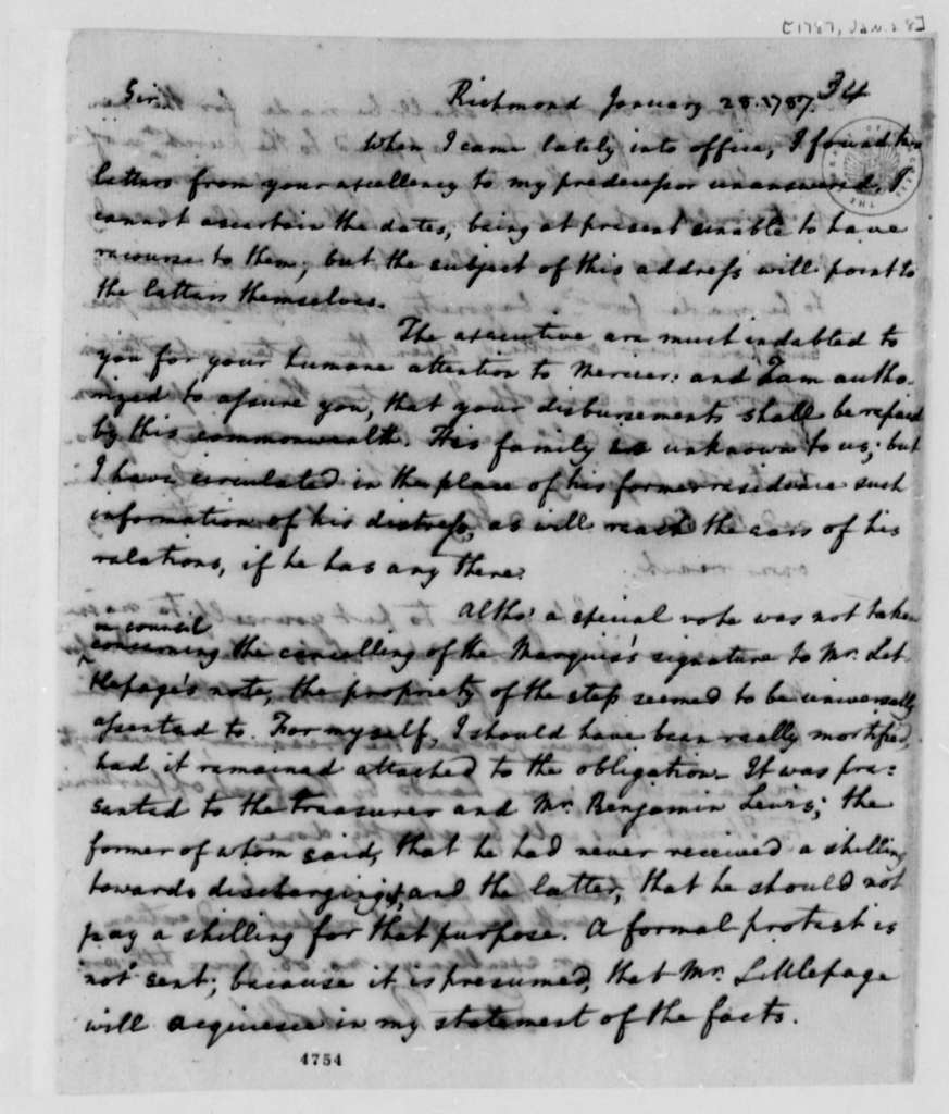 Edmund Randolph to Thomas Jefferson, January 28, 1787