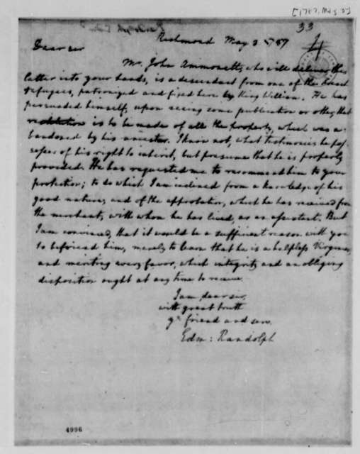 Edmund Randolph to Thomas Jefferson, May 3, 1787, Enclosed with John Ammonet Letter of May 10, 1787