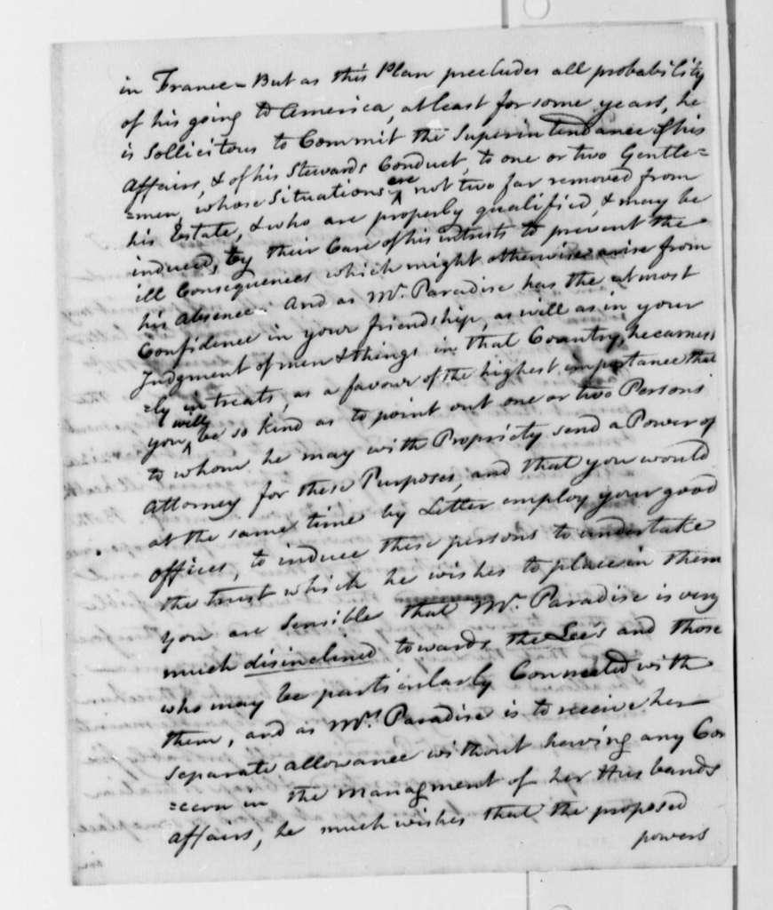 Edward Bancroft to Thomas Jefferson, March 27, 1787