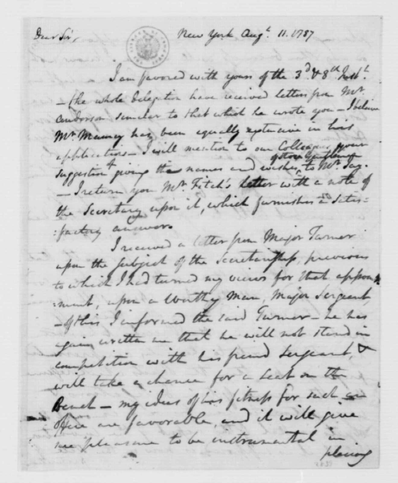 Edward Carrington to James Madison, August 11, 1787. [Original Incomplete].