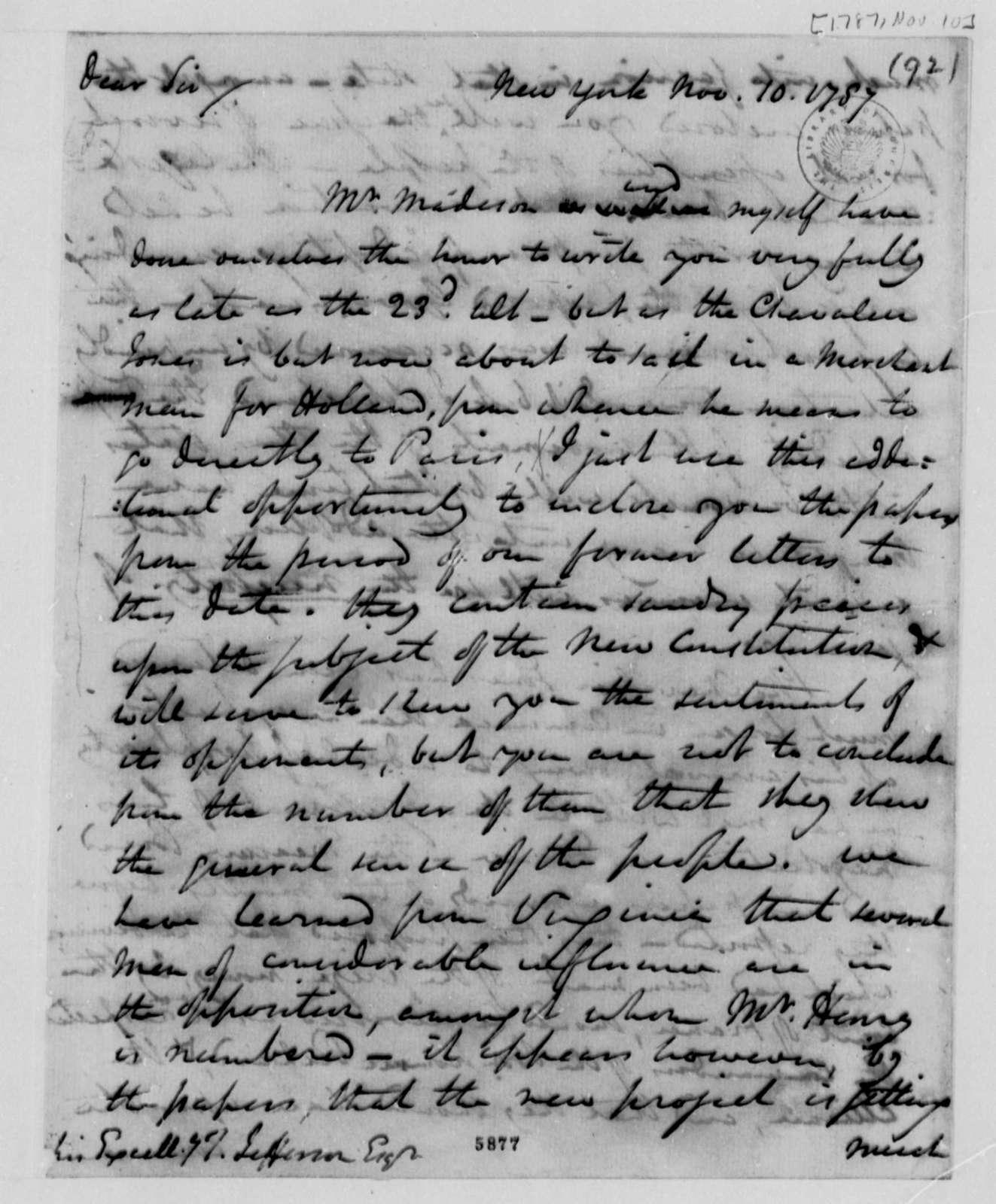 Edward Carrington to Thomas Jefferson, November 10, 1787