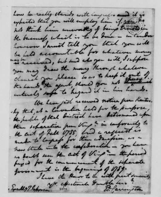 Edward Carrington to Thomas Jefferson, November 10, 1787