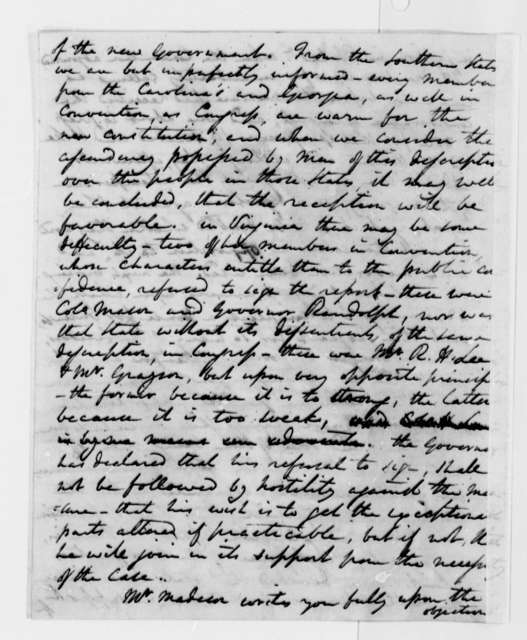 Edward Carrington to Thomas Jefferson, October 23, 1787, two same date; Constitutional Convention