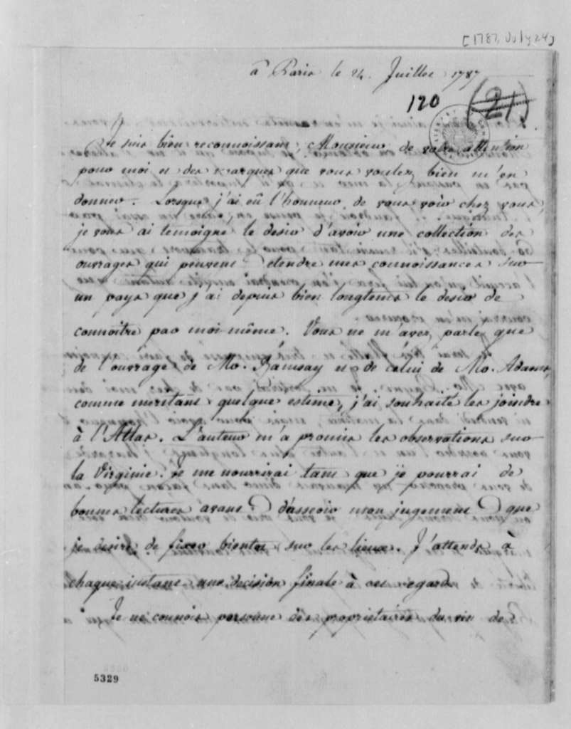 Eleonore Francois Elie, Comte de Moustier to Thomas Jefferson, July 24, 1787, in French
