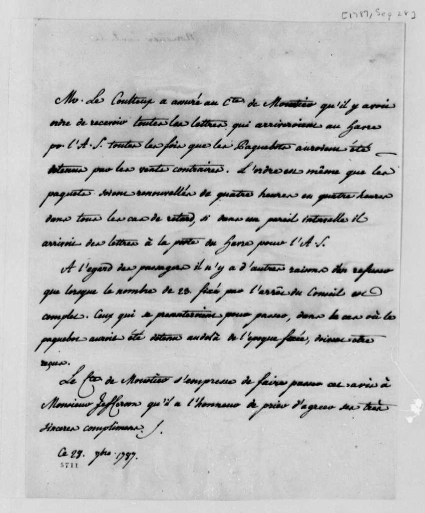 Eleonore Francois Elie, Comte de Moustier to Thomas Jefferson, September 28, 1787, in French