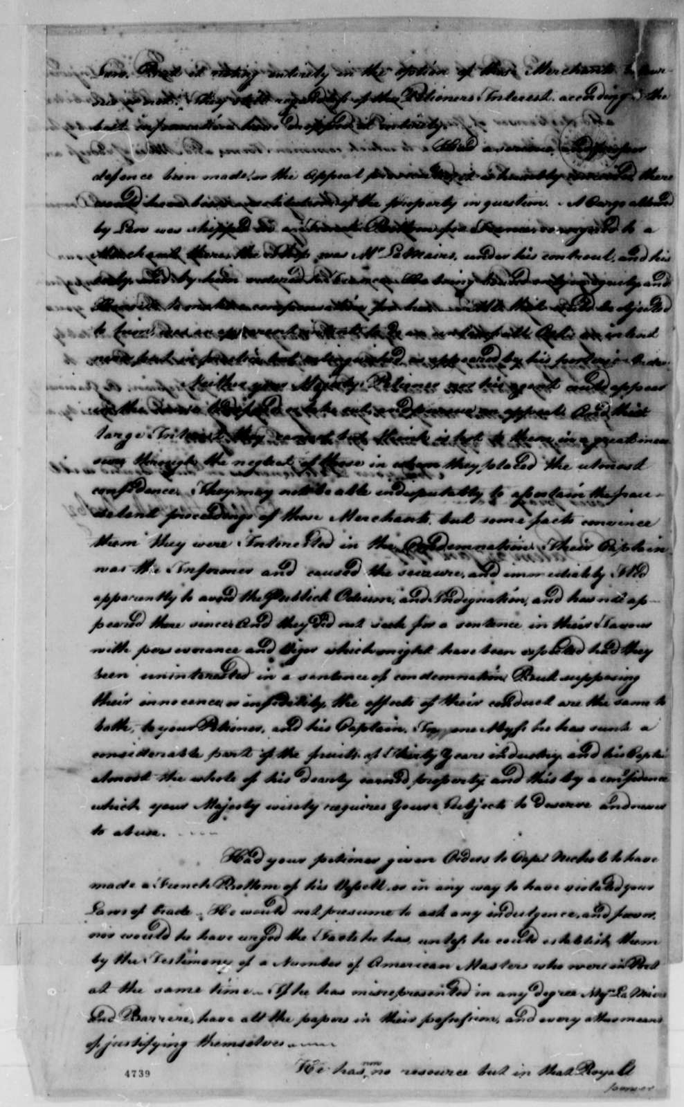 Elias Hasket Derby to Louis XVI, King of France, January 24, 1787, Petition to Regain Property Seized in Port au Prince