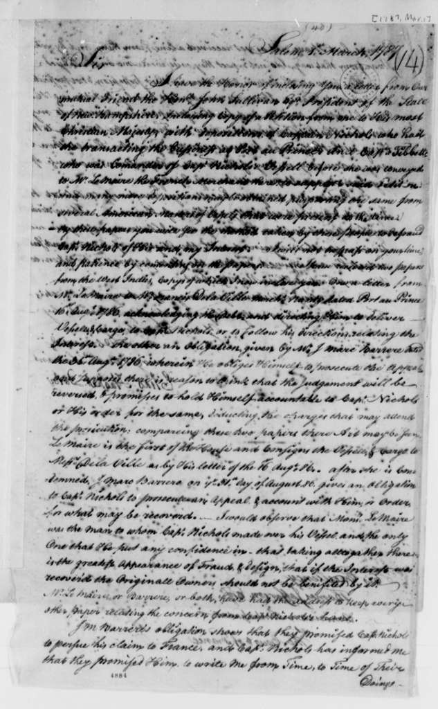 Elias Hasket Derby to Thomas Jefferson, March 1, 1787, Seizure of the Neptune (ship) in Port au Prince