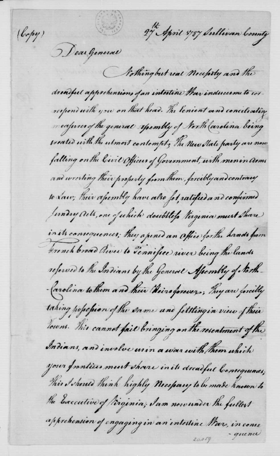 Evan Shelby to W. Russell, May 7, 1787. Copy.