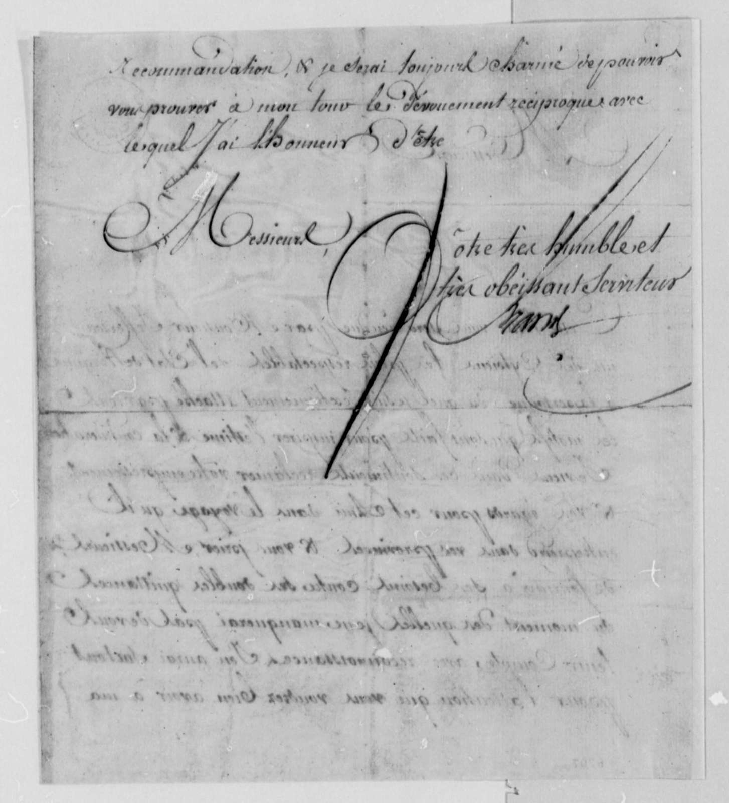Ferdinand Grand to Thomas Jefferson, 1787, in French