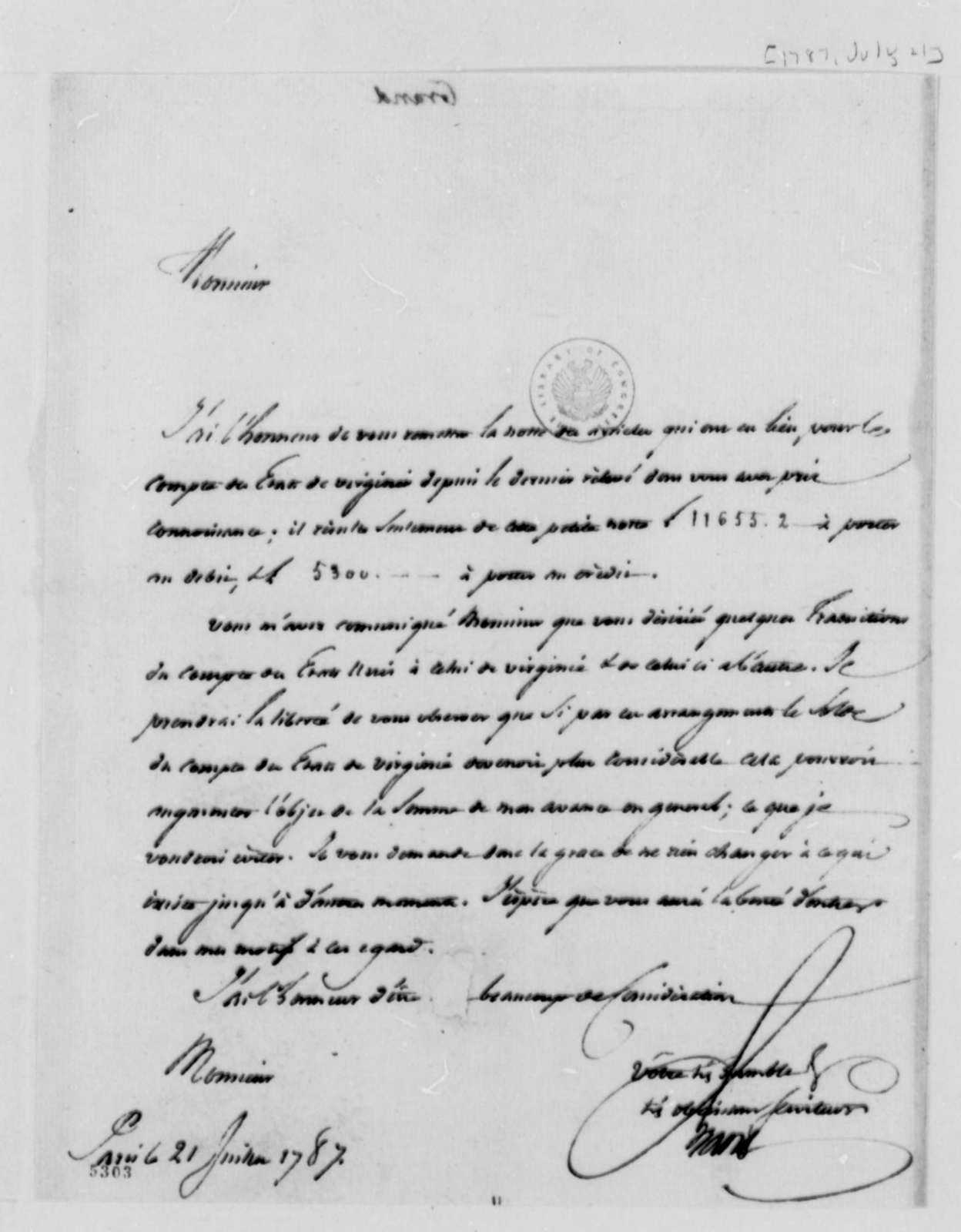 Ferdinand Grand to Thomas Jefferson, July 21, 1787, in French