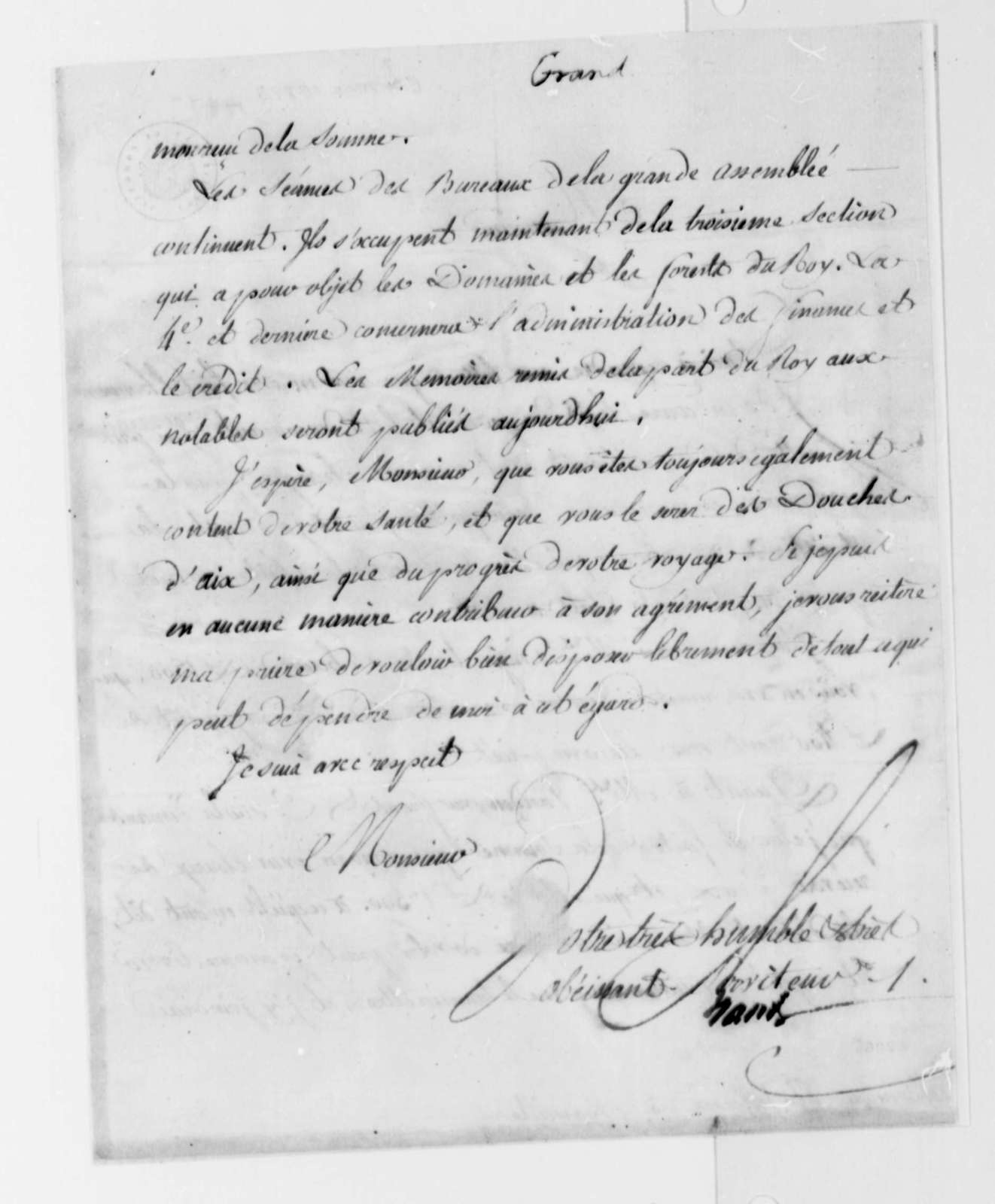 Ferdinand Grand to Thomas Jefferson, March 30, 1787