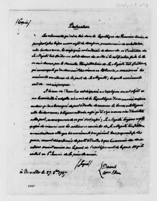France, October 17, 1787, Declaration on Prussian Troops Entering Holland; in French; with Copy