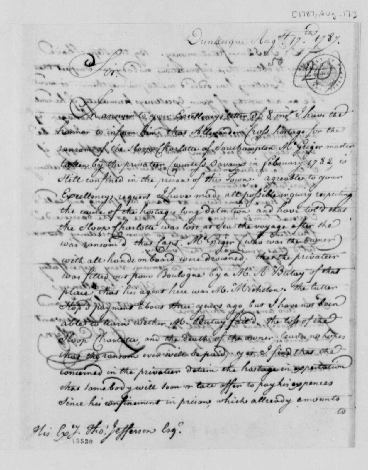 Francis Coffyn to Thomas Jefferson, August 17, 1787