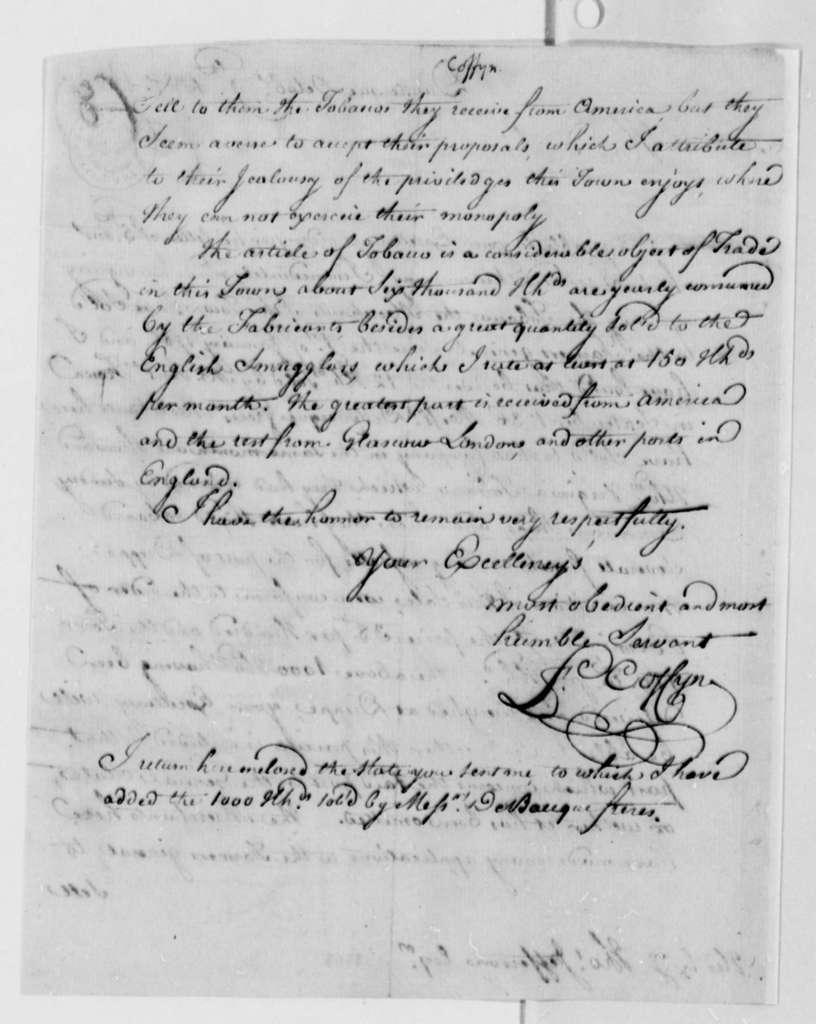 Francis Coffyn to Thomas Jefferson, October 9, 1787