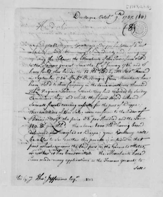 Francis Coffyn to Thomas Jefferson, October 9, 1787