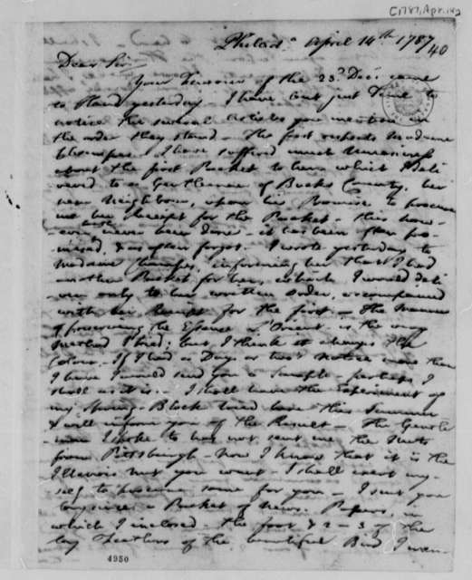 Francis Hopkinson to Thomas Jefferson, April 14, 1787