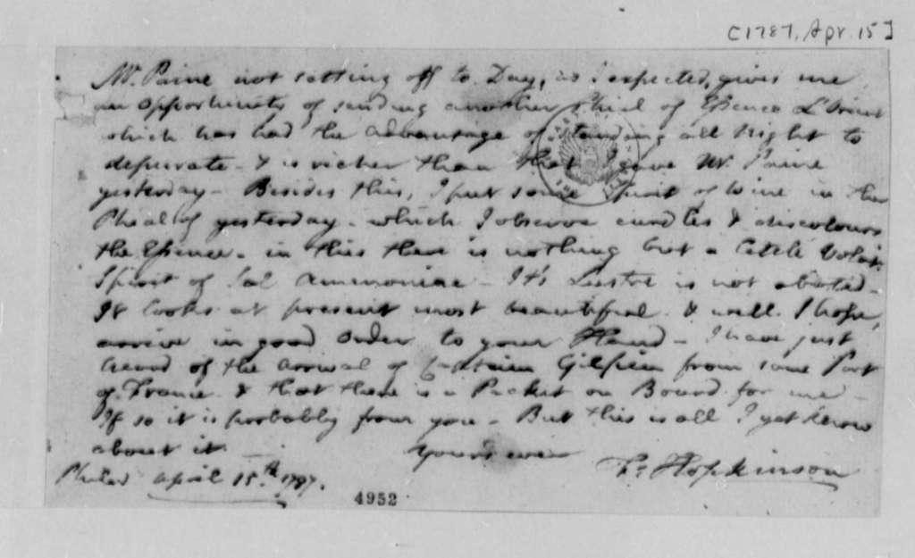 Francis Hopkinson to Thomas Jefferson, April 15, 1787