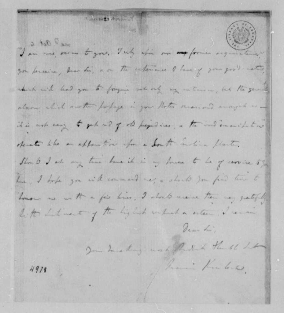 Francis Kinloch to Thomas Jefferson, April 26, 1787