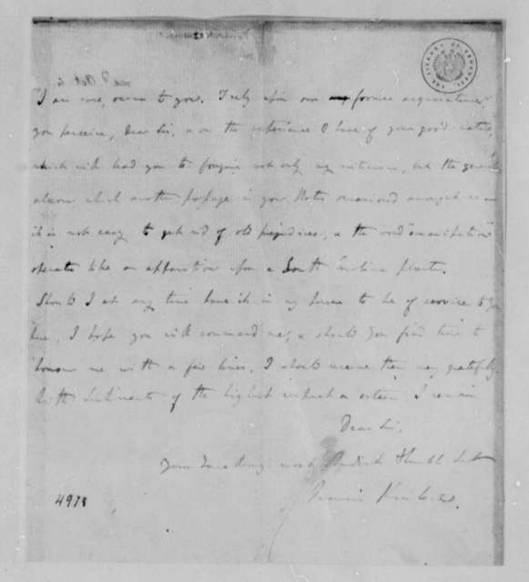 Francis Kinloch to Thomas Jefferson, April 26, 1787