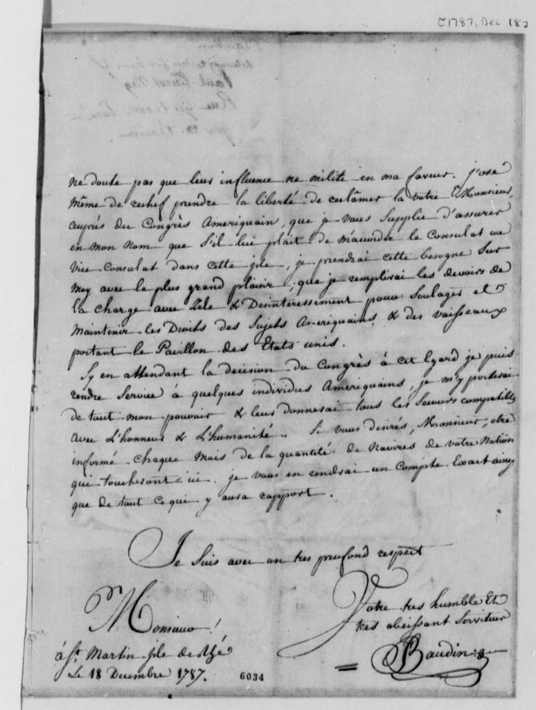 Francois Baudin to Thomas Jefferson, December 18, 1787, in French