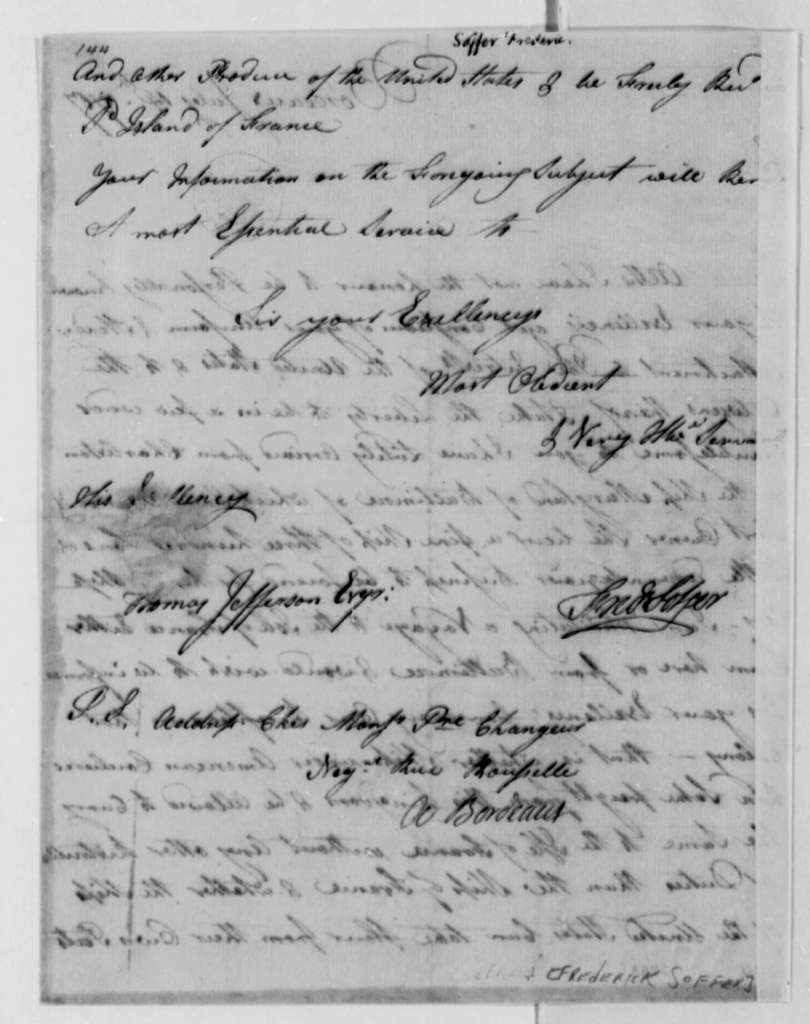 Frederick Soffer to Thomas Jefferson, July 14, 1787