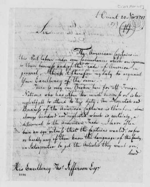 Frederick William Ast to Thomas Jefferson, November 20, 1787, Sent with Petition for Appointment of J. David Divoux, Dated November 14, 1787