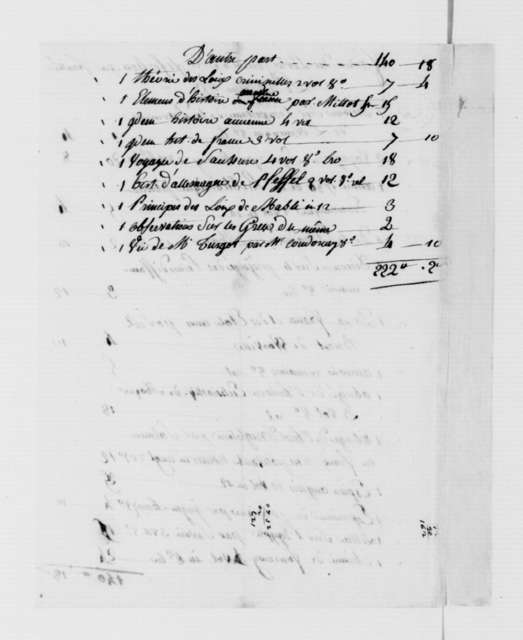Froulle, June 27, 1787. Thomas Jeffersons Books, Invoice.
