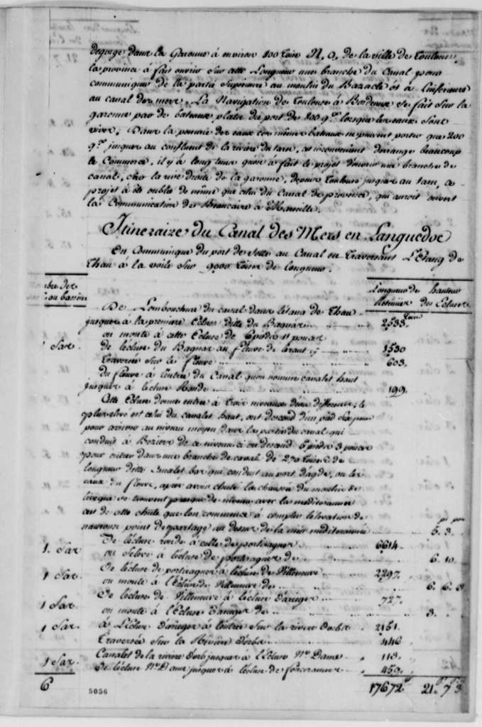 G. Pin to Thomas Jefferson, May 26, 1787, with Report on Languedoc Canal; in French