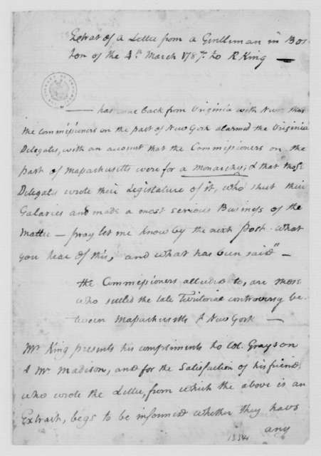 """""""Gentleman in Boston"""" to Rufus King, March 4, 1787. Extract."""